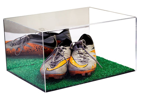 Cleat Display Case <br> With Turf Floor <br>(Clear or Mirror) <br> <sub> Pro, NCAA, and more!