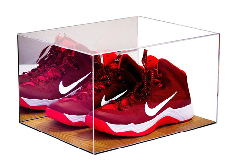 Basketball Shoe Display <br> Case With Wood Floor <br> and Mirror<br> <sub> For NBA, NCAA, and more </sub>