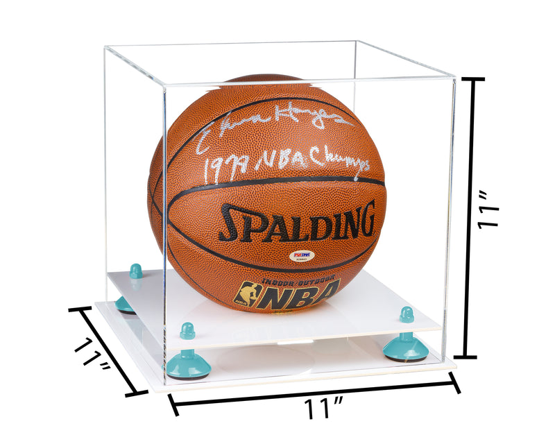 11x11x11 Clear Acrylic Basketball Display Box with White Base