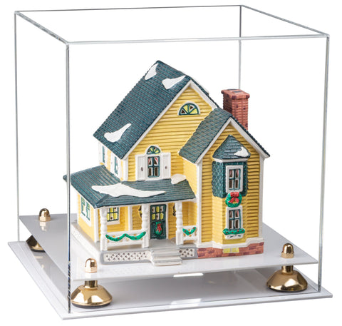 "Versatile Clear Acrylic Display Case - Medium Square Box with Risers and White Base 11"" x 11"" x 11"""