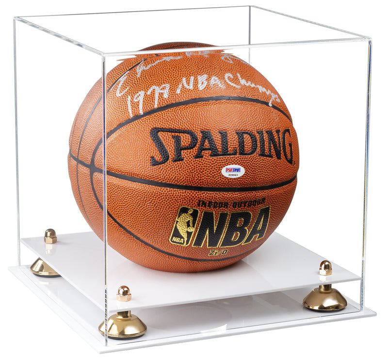 Clear Acrylic Full Size Basketball Display Case with Risers and White Base