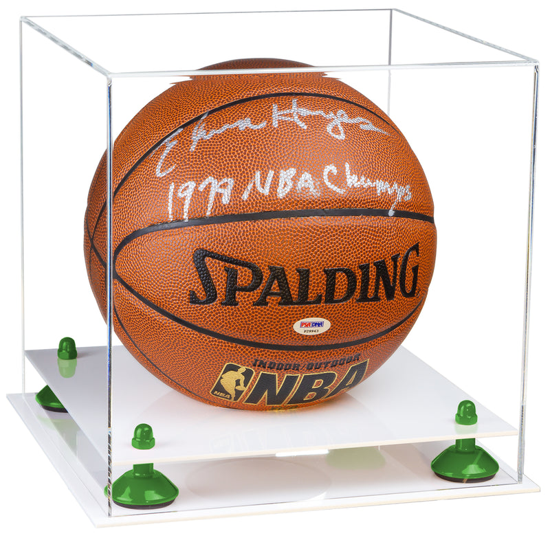 White Based Basketball Display Box with Risers