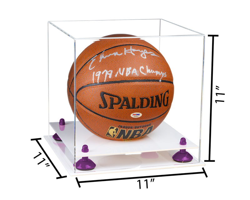 11x11x11 White Based Basketball Display Box with Risers