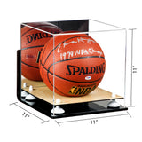 Full Size Basketball Mirrored Display Case with Wall Mount and Wood Base<br> <sub> For NBA, NCAA, and more </sub>, Display Case, Better Display Cases, Better Display Cases - Better Display Cases