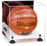 Acrylic Basketball Display Case with White Base A001/B01