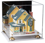 "Versatile Acrylic Display Case - Medium Square Box with Mirror, Risers and White Base 11"" x 11"" x 11"""