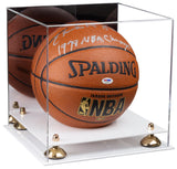 Acrylic Full Size Basketball Display Case with Mirror, Risers and White Base