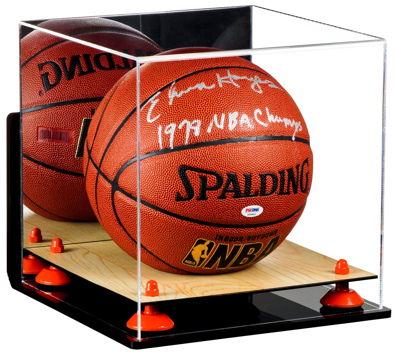Full Size Basketball Mirrored Display Case with Wall Mount and Wood Floor