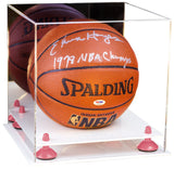 Mirrored Basketball Display Box with White Base