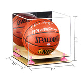 Basketball Display Case <br> With Mirror, Risers and Wood Base<br> <sub> For NBA, NCAA, and more </sub>