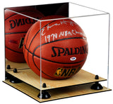 Basketball Display Case <br> With Mirror, Risers and Wood Floor<br> <sub> For NBA, NCAA, and more </sub>, Display Case, Better Display Cases, Better Display Cases - Better Display Cases