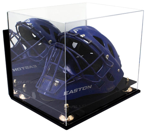 Acrylic Catchers Helmet Display Case with Mirror, Wall Mount, Risers and Black Base
