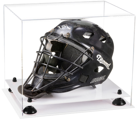 Clear Acrylic Catchers Helmet Display Case with Risers and White Base