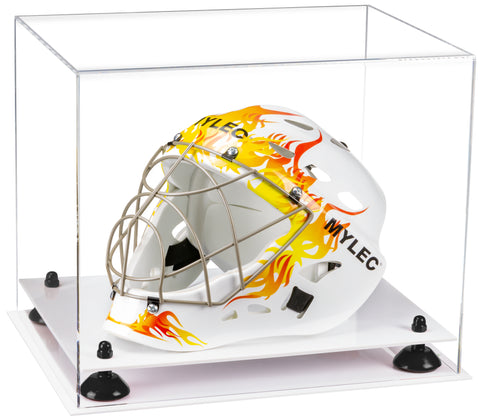 Clear Acrylic Lacrosse Helmet Display Case with Risers and White Base
