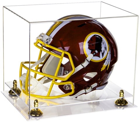 Deluxe Clear Acrylic Football Helmet Display Case with Risers and Clear Base (A002-CB) <br> <sub> for NFL, NCAA, and more! </sub>, Display Case, Better Display Cases, Better Display Cases - Better Display Cases