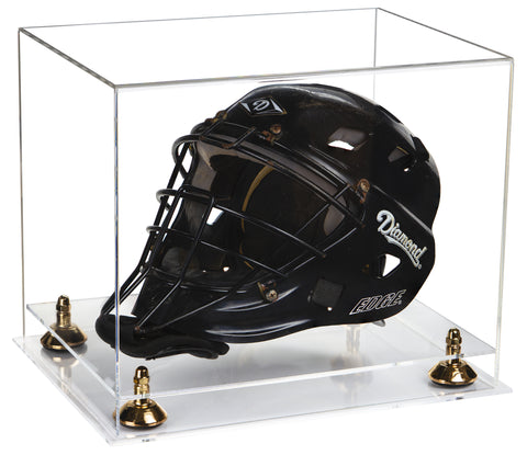 Deluxe Clear Acrylic Catchers Helmet Display Case with Risers and Clear Base (A002-CB) <br> <sub> MLB, NCAA and more! </sub>, Display Case, Better Display Cases, Better Display Cases - Better Display Cases