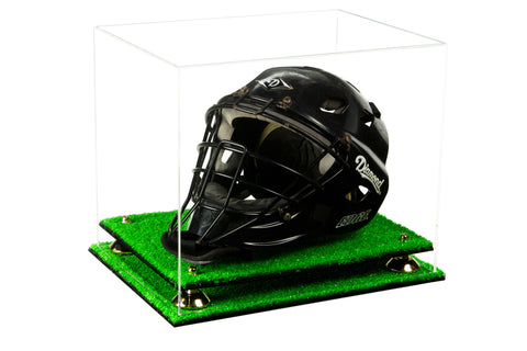 Clear Acrylic Catchers Helmet Display Case with Risers and Turf Base