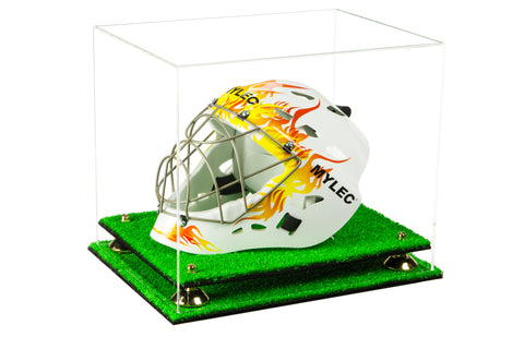 Clear Acrylic Lacrosse Helmet Display Case with Risers and Turf Base
