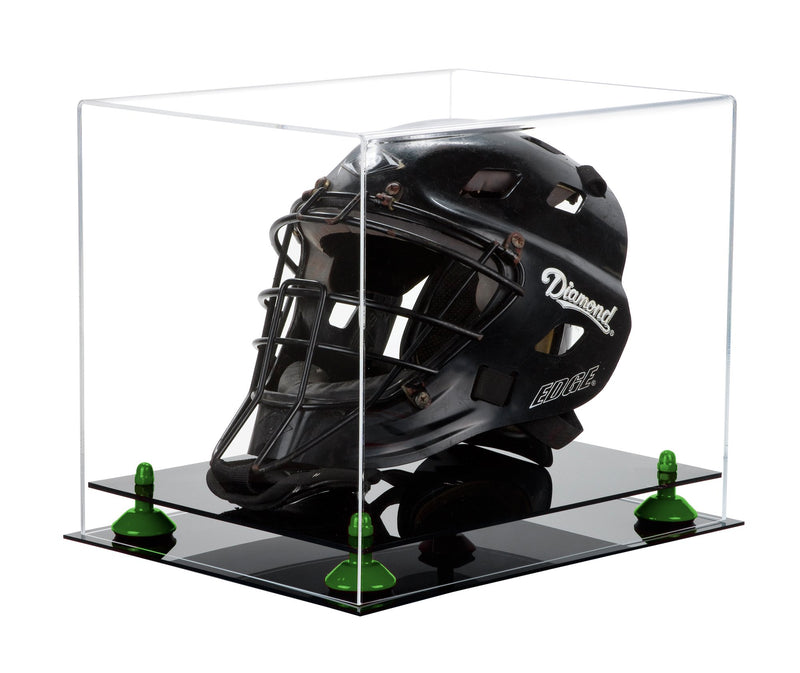 Black Based Catchers Helmet Display Box with Risers