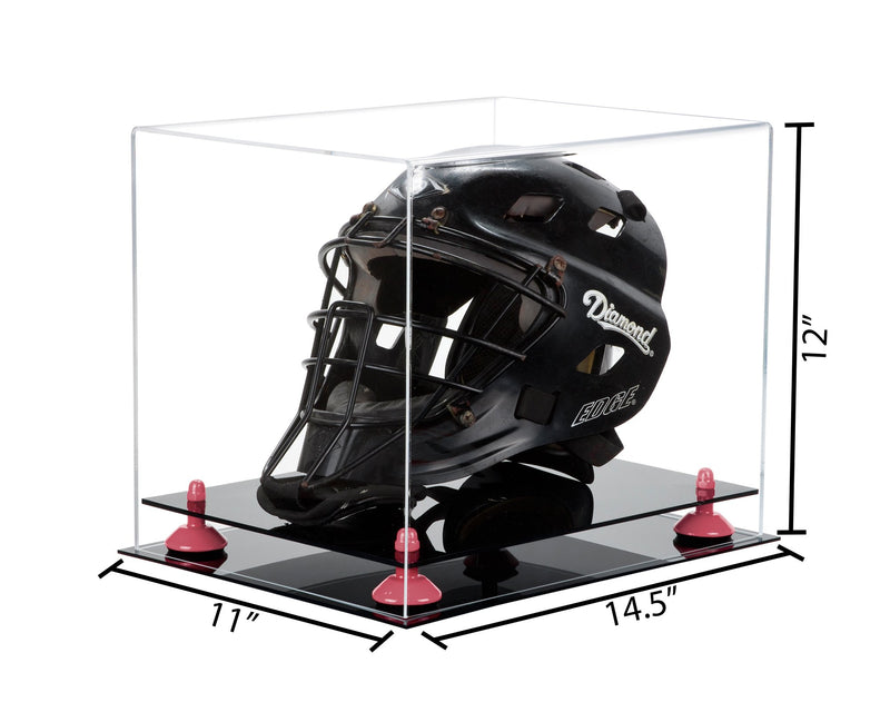 14.5x11x12 Black Based Catchers Helmet Display Box with Risers
