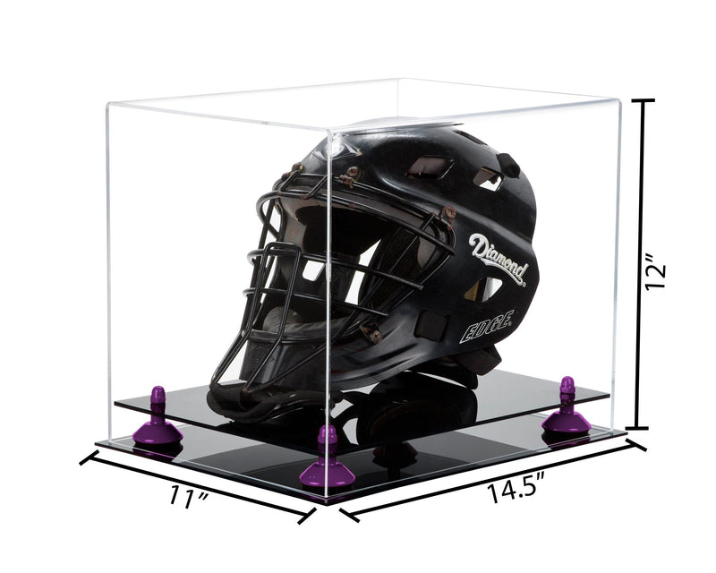 14.5x11x12 Catchers Helmet Display Case with Risers