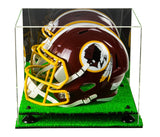 Deluxe Acrylic Football Helmet Display Case with Risers, Mirror and Turf Base (A002-TB)<br> <sub> NFL, NCAA, and more! </sub>, Display Case, Better Display Cases, Better Display Cases - Better Display Cases