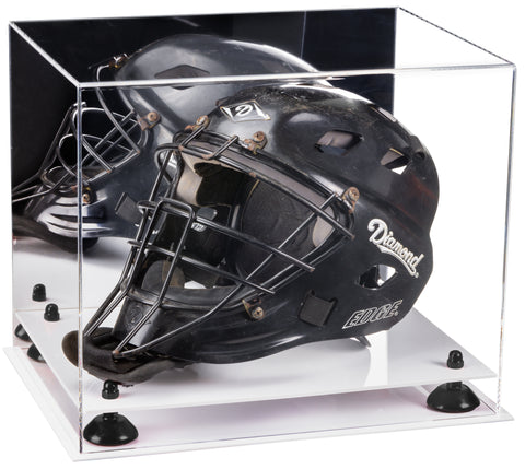 Acrylic Catchers Helmet Display Case with Mirror, Risers and White Base