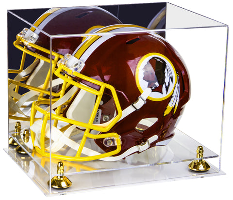 Deluxe Acrylic Football Helmet Display Case with Mirror, Risers and Clear Base (A002-CB) <br> <sub> for NFL, NCAA, and more! </sub>, Display Case, Better Display Cases, Better Display Cases - Better Display Cases