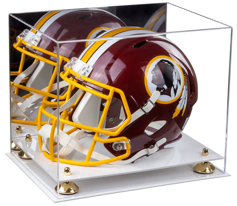 Acrylic Football Helmet Display Case with Mirror, Risers and White Base