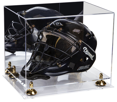 Deluxe Acrylic Catchers Helmet Display Case with Mirror, Risers and Clear Base (A002-CB) <br> <sub> MLB, NCAA and more! </sub>, Display Case, Better Display Cases, Better Display Cases - Better Display Cases