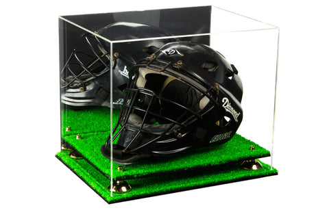 Acrylic Catchers Helmet Display Case with Mirror, Risers and Turf Base