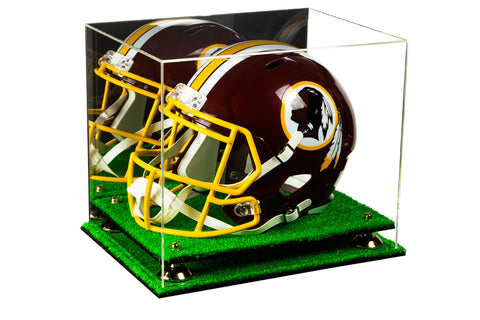 Acrylic Football Helmet Display Case with Mirror, Risers and Turf Base