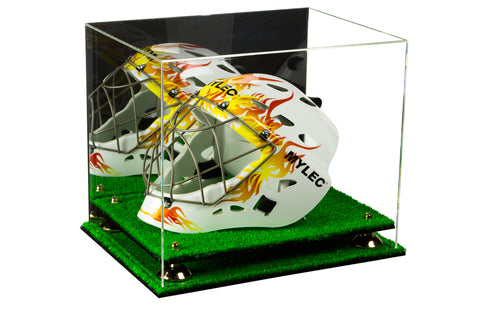 Acrylic Lacrosse Helmet Display Case with Mirror, Risers and Turf Base