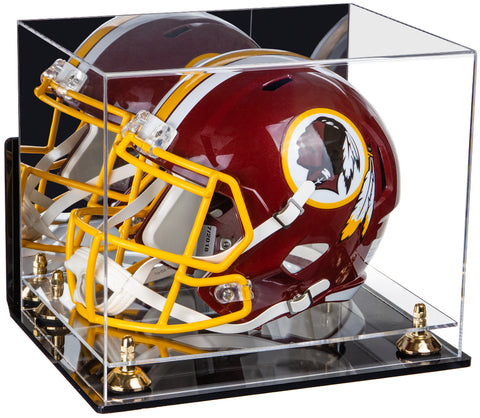 Deluxe Acrylic Football Helmet Display Case with Mirror, Wall Mount, Risers and Clear Base (A002-CB) <br> <sub> for NFL, NCAA, and more! </sub>, Display Case, Better Display Cases, Better Display Cases - Better Display Cases
