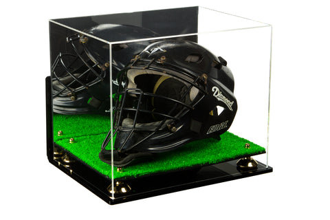 Acrylic Catchers Helmet Display Case with Mirror, Wall Mount, Risers and Turf Base