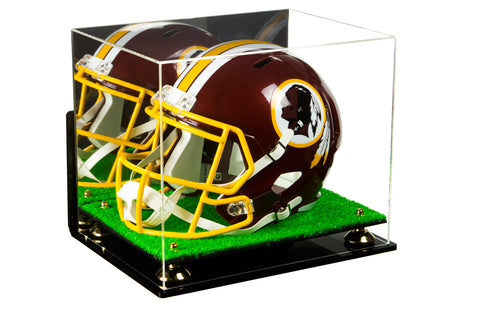 Deluxe Acrylic Football Helmet Display Case with Risers, Mirror, Turf Base and Wall Mount (A002-TB)<br> <sub> NFL, NCAA, and more! </sub>, Display Case, Better Display Cases, Better Display Cases - Better Display Cases