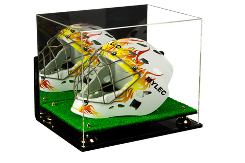 Acrylic Lacrosse Helmet Display Case with Mirror, Wall Mount, Risers and Turf Base