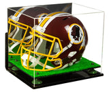 Football Helmet Display Case with Turf Base