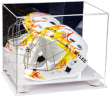 Mirrored Acrylic Lacrosse Helmet Display Box with White Base