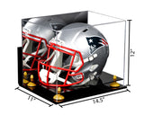 Acrylic Football Helmet Display Case with Mirror, Wall Mount and Risers (A002)  <br> <sub> NFL, NCAA, and more! </sub>