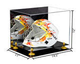 Acrylic Lacrosse Helmet Display Case w/ Mirror, Black Base A002/V44