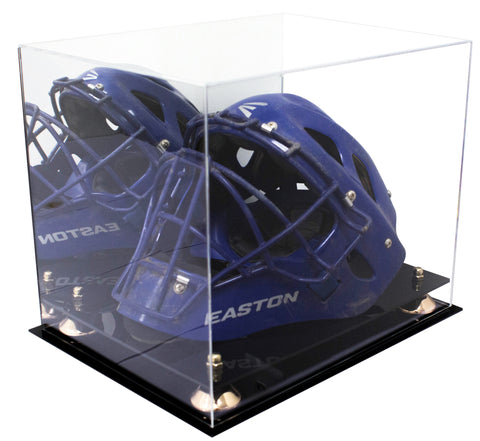 Acrylic Catchers Helmet Display Case with Mirror, Risers and Black Base