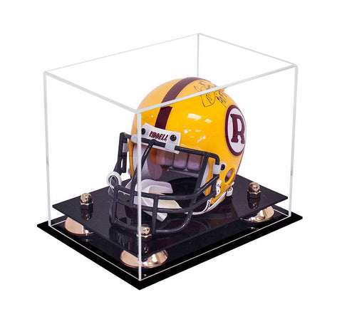 Clear Acrylic Mini - Miniature Football Helmet (not Full Size) Display Case with Risers and Black Base