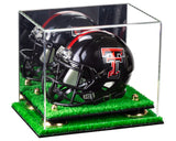 mini football helmet Case, with mirror, with risers, turf base