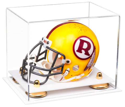 Clear Acrylic Mini - Miniature Football Helmet (not Full Size) Display Case with Risers and White Base