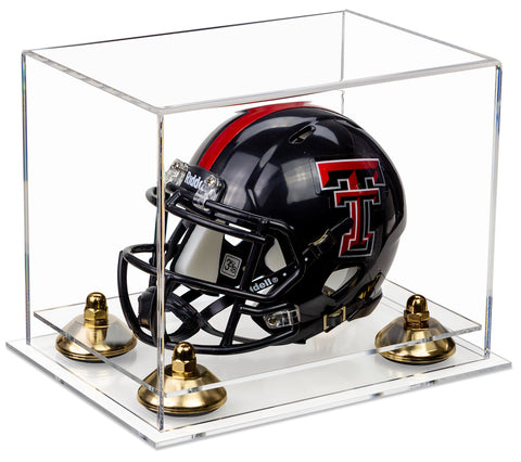Deluxe Clear Acrylic Mini Football Helmet Display Case (not Full Size) with Risers and Clear Base