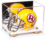 Acrylic Mini - Miniature (not Full Size) Football Helmet Display Case with Mirror, Risers and White Base