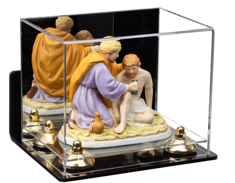 Versatile Acrylic Display Case - Small Rectangle Box with Mirror, Wall Mount, Risers and Clear Base 8.25x6x6.75