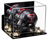 Deluxe Clear Acrylic Mini Football Helmet Display Case (not Full Size) with Mirror, Wall Mount, Risers and Clear Base