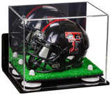 mini football helmet Case, with mirror, with risers, with wall mount, turf base